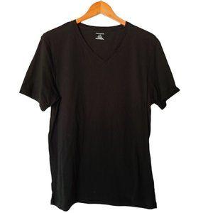 Club Monaco Black Basic V-Neck Cotton Tee T-Shirt